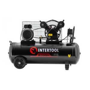 Intertool PT-0014 Компрессор 100 л, 3 кВт, 220 В, 8 атм, 500 л/мин, 2 цилиндра