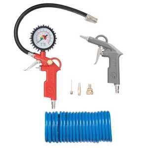 Intertool PT-1500 Набор пневмоинструментов 6 единиц, пистолет для накачки шин, продувочный пистолет, шланг полиуретановый 5м., три наконечника