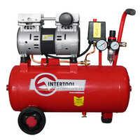 Intertool PT-0022 Компрессор 24 л, 0.75 кВт, 220 В, 8 атм, 145 л/мин, малошумный, безмасляный, 2 цилиндра